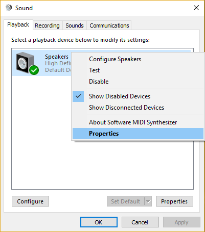 Right click on your Speakers and select Properties