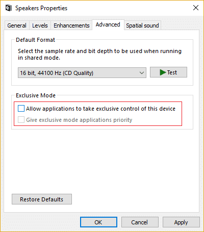 Uncheck Allow applications to take exclusive control of this device
