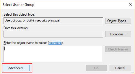 Click Advanced on Select User or Group window