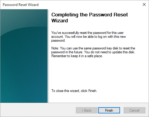 Click Finish to complete the wizard