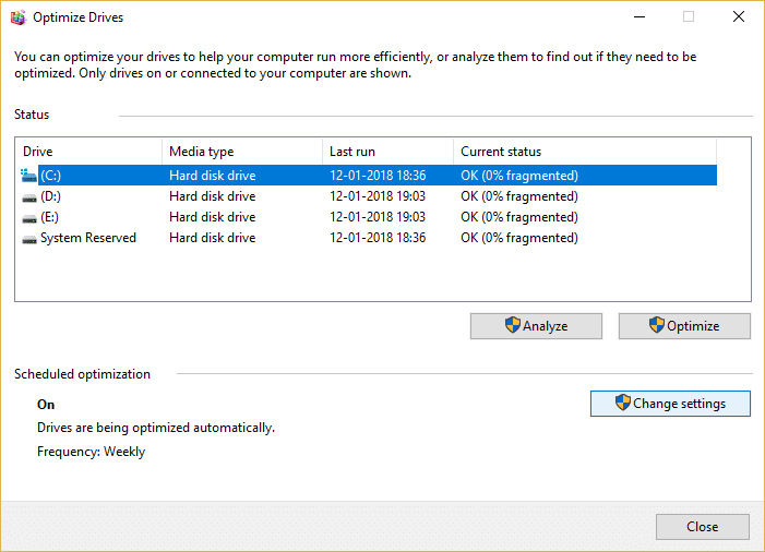 Click on Change Settings under Scheduled optimization