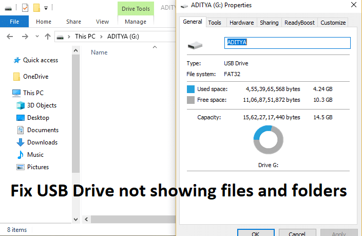 Fix USB Drive not showing files and folders