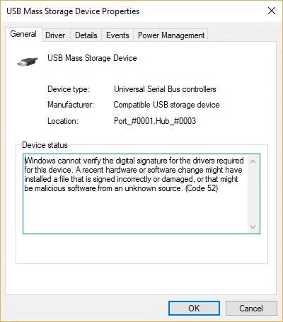 Fix USB Error Code 52 Windows cannot verify the digital signature