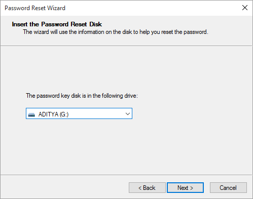 From the drop-down select the USB drive which has password reset disk and click Next