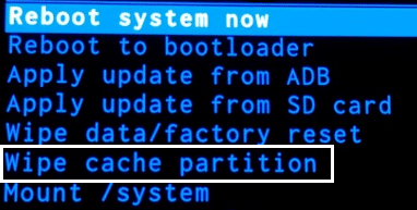 Select WIPE CACHE PARTITION