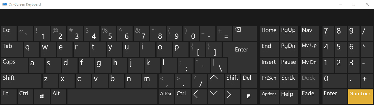 Turn Off NumLock using On-Screen Keyboard