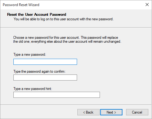 Type the new password and add a hint then click Next