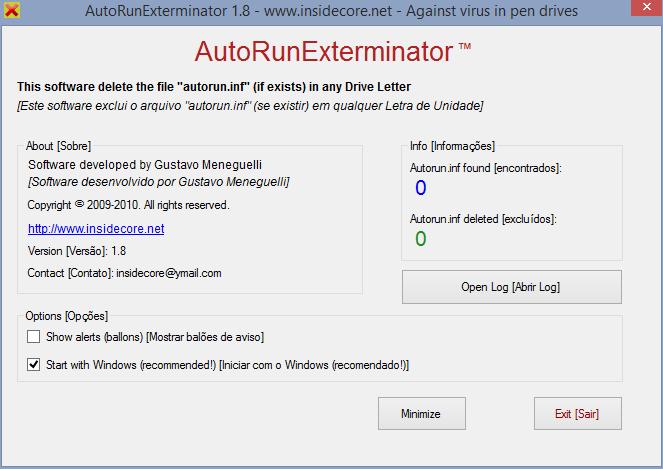 Use AutorunExterminator to delete inf files