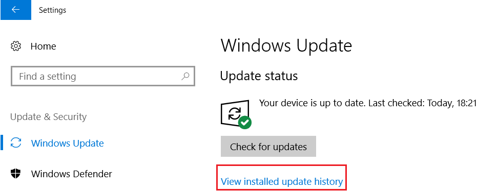 from the left hand side select Windows Update the click on View installed update history