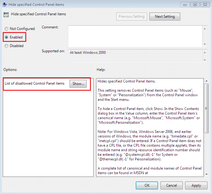 Checkmark Enable for Hide Specified Control Panel Items