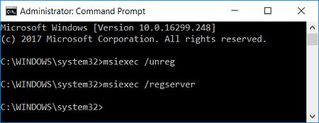 Re-register Windows Installer