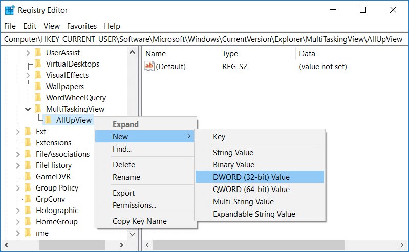 Right-click on AllUpView and select New the click on DWORD (32-bit) value