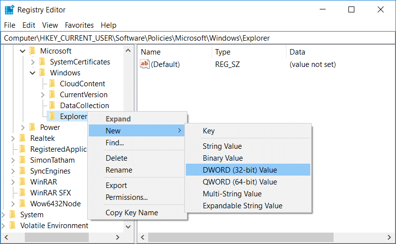 Right-click on Explorer then select New and then DWORD 32-bit value