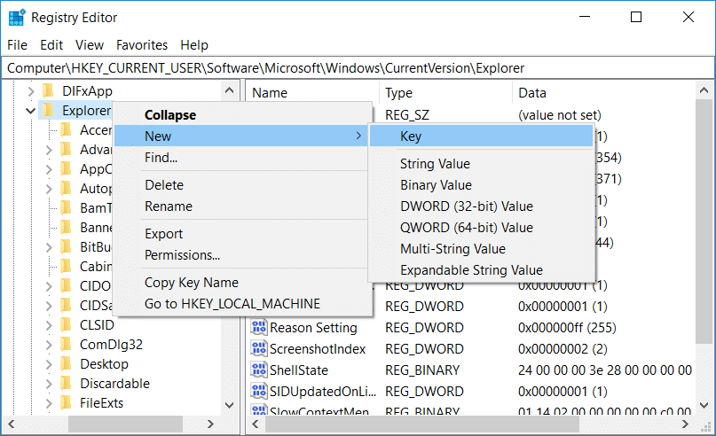 Right-click on Explorer then select New then click on Key