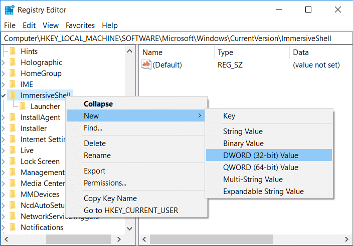 Right-click on ImmersiveShell and select New then DWORD 32-bit value
