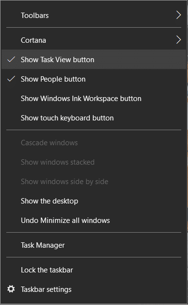 Right-click on Taskbar and click on Show Task View button