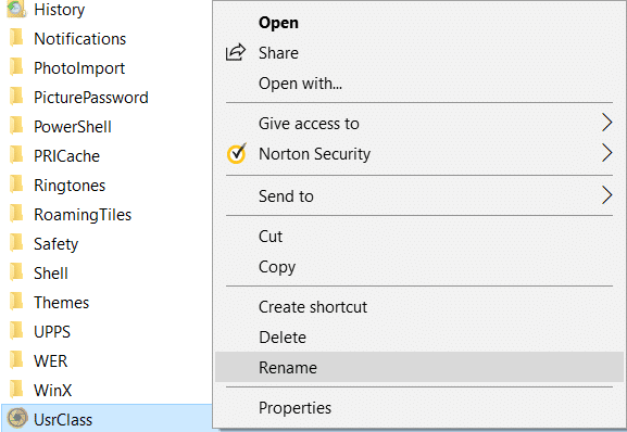 Right-click on UsrClass file and select Rename