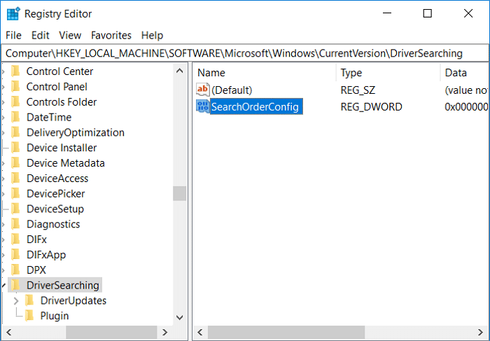 Select DriverSearching then in the right window double-click on SearchOrderConfig