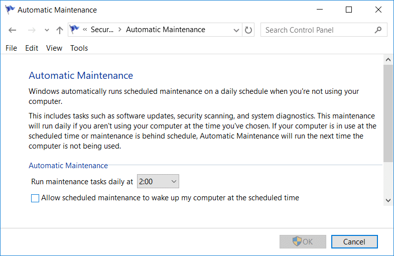 Uncheck Allow scheduled maintenance to wake up my computer at the scheduled time