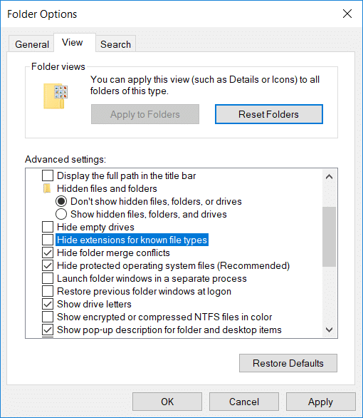 Uncheck Hide extensions for known file types
