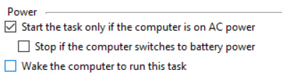 Uncheck Wake the computer to run this task