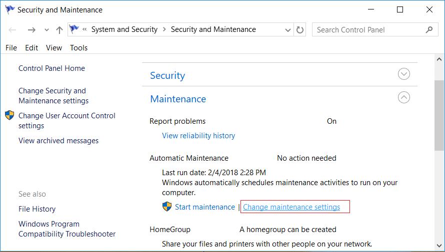 Under Maintenance click on Change maintenance settings