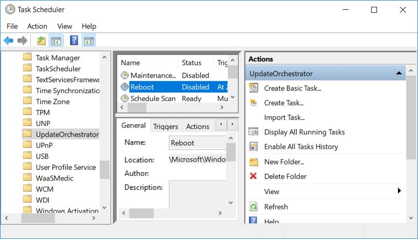 Under UpdateOrchestrator double click on Reboot