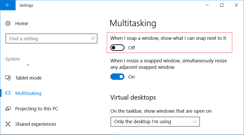 disable the toggle for When I snap a window, show what I can snap next to it