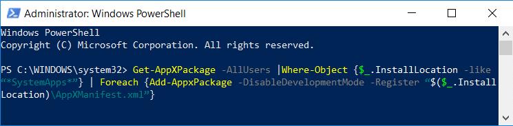 Re-register Windows Apps Store