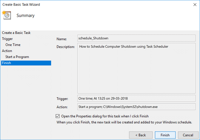 Checkmark Open the Properties dialog for this task when I click Finish