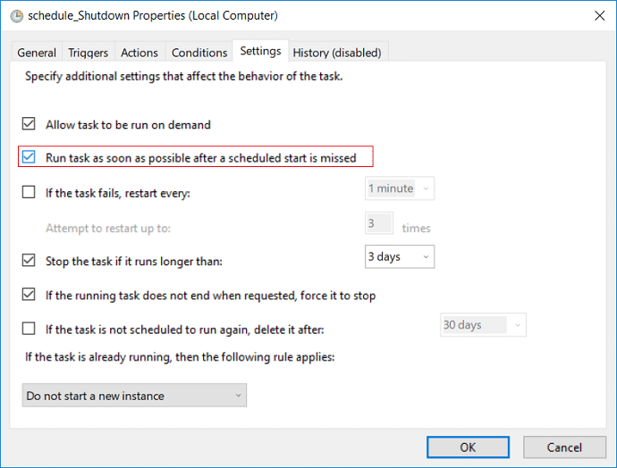 Checkmark Run task as soon as possible after a scheduled start is missed