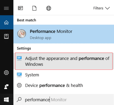 Click Adjust the appearance and performance of Windows
