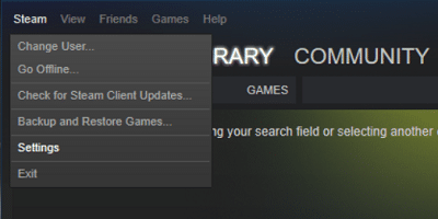 Click on Steam from the menu and select Settings | Fix Could Not Connect to the Steam Network Error