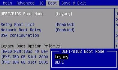 Enable Legacy support in Boot Menu