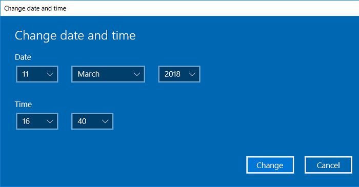 Make the necessary changes in the Change date and time window and click Change