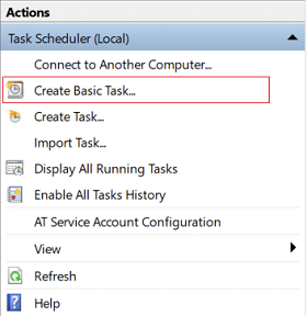 Now from the right-hand window under Actions click on Create Basic Task
