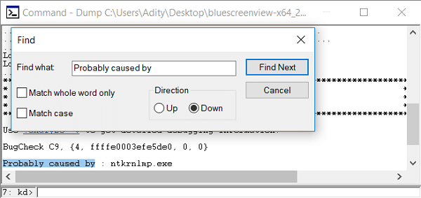 Open Find then type Probably caused by then hit Find Next