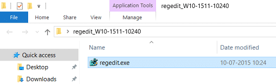 Replace regedit.exe from the extracted folder to Windows folder