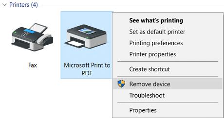 Right-click on Microsoft Print to PDF then select Remove device