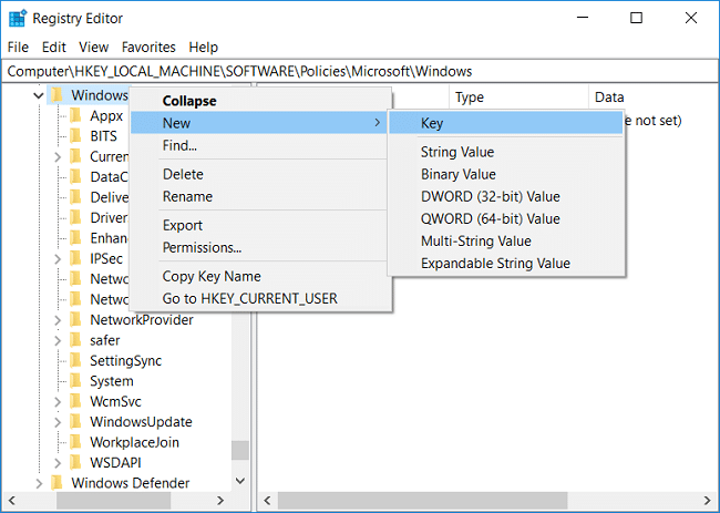 Right-click on Windows key then select New and Key