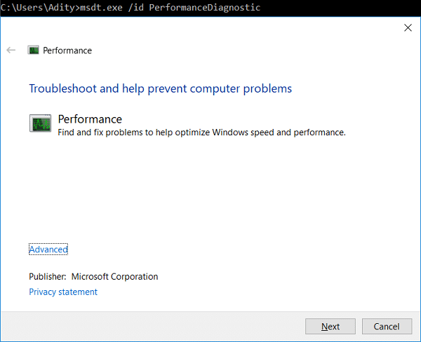 Run System Performance Troubleshooter