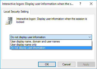 Select Do not display user information