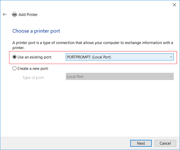 Select PORTPROMPT (Local Port) from Use an existing port drop-down
