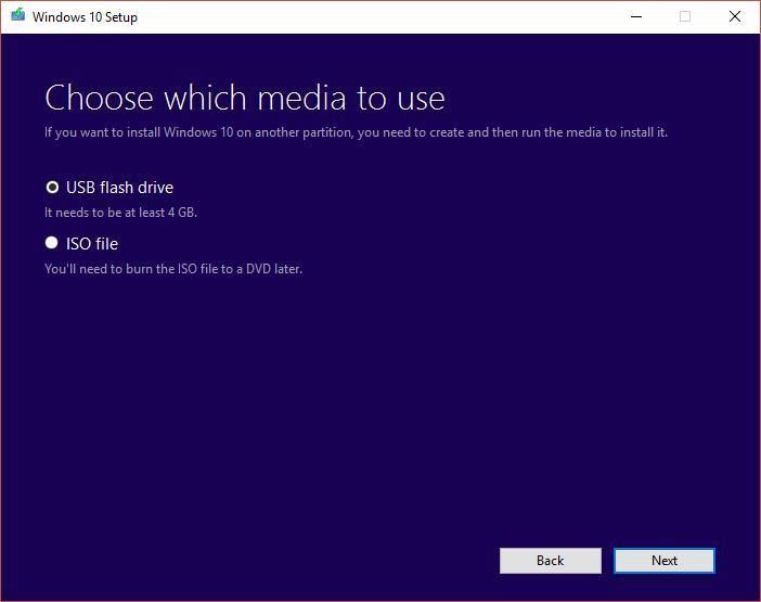 Select USB flash drive then click Next
