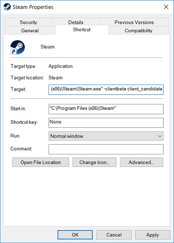 Switch to Shortcut tab then add -clientbeta client_candidate in target field
