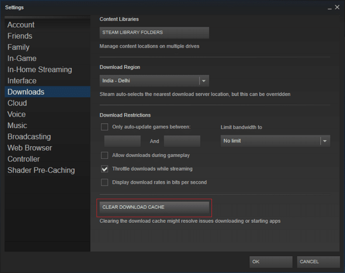 Switch to download then click Clear Download Cache