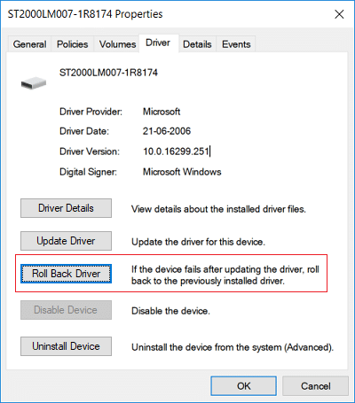 Switch to driver tab and click Roll Back Driver