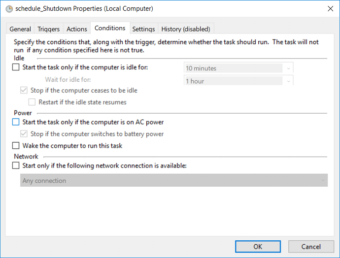 Switch to the Conditions tab and then uncheck Start the task only if the computer is on AC power