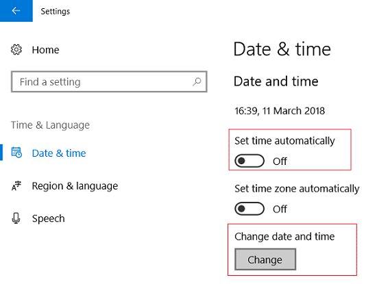 Turn off Set time automatically then click on Change under Change date and time