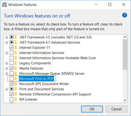 Uncheck Microsoft Print to PDF in Windows Feature